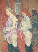 Female Metal Prints -  Rue des Moulins Metal Print by Henri de Toulouse-Lautrec
