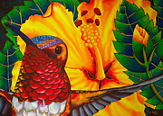 Silk On Canvas Metal Prints -  Rufous Hummingbird Metal Print by Daniel Jean-Baptiste