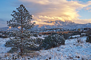Mary Lee Dereske -  Sandia Mountains with Snow at Sunset