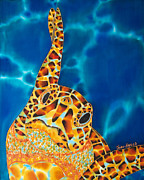 Reptiles Tapestries - Textiles Metal Prints -  Sea Turtle Metal Print by Daniel Jean-Baptiste
