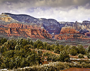 Sedona Arizona In Winter Coat Print by  Bob and Nadine Johnston