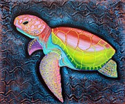 Turtle Mixed Media Metal Prints -  Share Favorite Kemps Ridley Sea Turtle Metal Print by Laura Barbosa