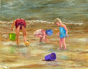 Seashells Paintings -  Shell Seekers by Vicky Watkins