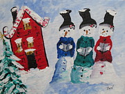 Livingstone Posters -  Singing- Snowman- House Poster by Beverly Livingstone
