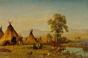 Famous Artists - Sioux Village near Fort Laramie by Albert Bierstadt