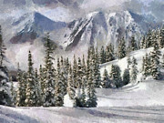 Snowy Roads Painting Prints -  Snow in the mountains Print by Georgi Dimitrov