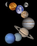 Planets Drawings Posters -  Solar System Montage Poster by Anonymous