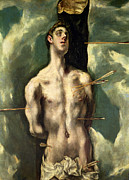 Saint  Paintings -  St Sebastian by El Greco Domenico Theotocopuli