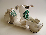 Bicycle Sculpture Posters -  Starbucks vespa  Poster by Alfred Ng