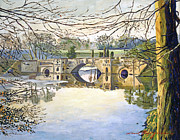 Gardenscape Paintings -  Stone Bridge by  David Lloyd Glover