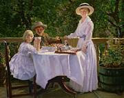 Sun Hat Posters -  Summer Afternoon Tea Poster by Thomas Barrett