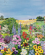 Foxglove Flowers Paintings -  Summer from The Four Seasons by Hilary Jones