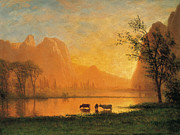 Famous Artists - Sundown at Yosemite by Albert Bierstadt