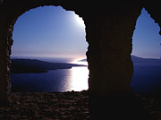 Canvasprint Framed Prints -   Sunset with view to vulcano island in Santorini  Framed Print by Colette V Hera  Guggenheim