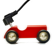 Old Toys Prints -  Symbolic Image Electric Car Print by Bernard Jaubert