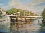 Architectur Painting Metal Prints -  Tartu arch bridge Metal Print by Ahto Laadoga