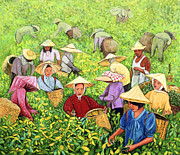 Baskets Painting Framed Prints -  Tea Picking Girl Framed Print by Komi Chen