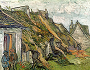 French Door Paintings -  Thatched Cottages in Chaponval by Vincent van Gogh