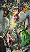 Archangel Painting Posters -  The Annunciation Poster by El Greco Domenico Theotocopuli