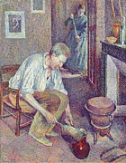 Domestic Scene Metal Prints -  The Coffee Metal Print by Maximilien Luce