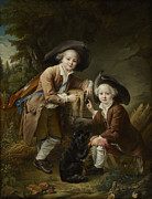 Comte Paintings -  The Comte and Chevalier de Choiseul as Savoyards by Francois Hubert Drouais