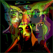 Gloomy Prints -  The Demons  Angels  - 214 Print by Irmgard Schoendorf Welch