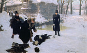 Outside Ice Paintings -  The Duel by Ilya Efimovich Repin
