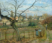 Autumn Landscape Painting Framed Prints -  The Fence Framed Print by Camille Pissarro