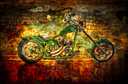 Motorcycle Racing Art Framed Prints -  The Green Chopper Framed Print by Debra and Dave Vanderlaan