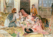 Lounging Framed Prints -  The Harem Framed Print by John Frederick Lewis