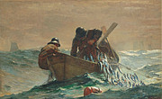 Fishing Painting Posters -  The Herring net Poster by Winslow Homer
