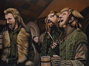 Tolkien Prints -  The Hobbit and the Dwarves Print by Paul  Meijering