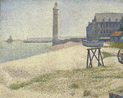 Sand Dunes Painting Posters -  The Lighthouse at Honfleur Poster by Georges Pierre Seurat