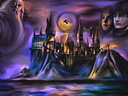 Witches Framed Prints -  The Magic castle I. Framed Print by Andrzej  Szczerski