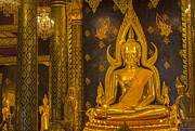 Psychedelic Space Art Prints -  The main hall of Wat Thardtong with golden Buddha statue Print by Anek Suwannaphoom