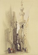 Alleyway Prints -  The Minaret of the Mosque of El Rhamree Print by David Roberts