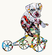 Pit Bull Mixed Media Metal Prints -  The Puppy Trike Metal Print by Brian Buckley