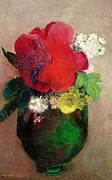 Floral Arrangement Paintings -  The Red Poppy by Odilon Redon