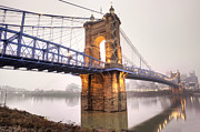 Cincinnati Framed Prints -  The Roebling Bridge Framed Print by Keith Allen