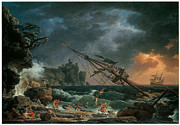 Sailing Ships Posters -  The Shipwreck Poster by Claude-Joseph Vernet