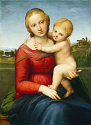 Mary Holding The Christ Prints -  The Small Cowper Madonna Print by Raphael Raffaello Sanzio of Urbino
