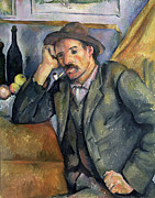 Wine Bottle Prints Paintings -  The Smoker by Paul Cezanne