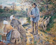 Bank Art Posters -  The Washerwomen Poster by Camille Pissarro