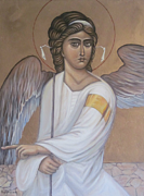 Byzantine Painting Originals -  The White Angel by Ljubomir Ilic