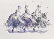 Pen Prints -  Three Kings Dancing a Jig Print by Joanna Logan