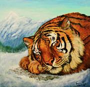 Painted Mixed Media -  Tiger Sleeping in Snow by Nadine and Bob Johnston