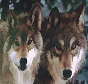Wolves In Nature Prints -  Together Forever Wolves Print by Debra     Vatalaro