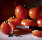 Indoor Still Life Metal Prints -  Tomatoes and a knife Metal Print by Bernard Jaubert