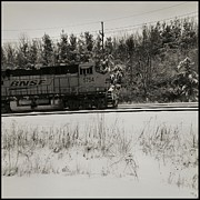 Freight Train Posters -  Train 5754 Black And White Poster by Tom Druin