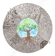 Tree Roots Mixed Media Prints -  Tree of Life Print by Terry Fleckney